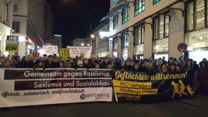 Demonstration der Offensive gegen rechts