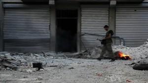 Ein Soldat der FSA in Aleppo